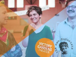 Photo for Intro of Too Much Light. Three Smiling Neo-Futurists with the logos for The Neo-Futurists and Victory Gardens